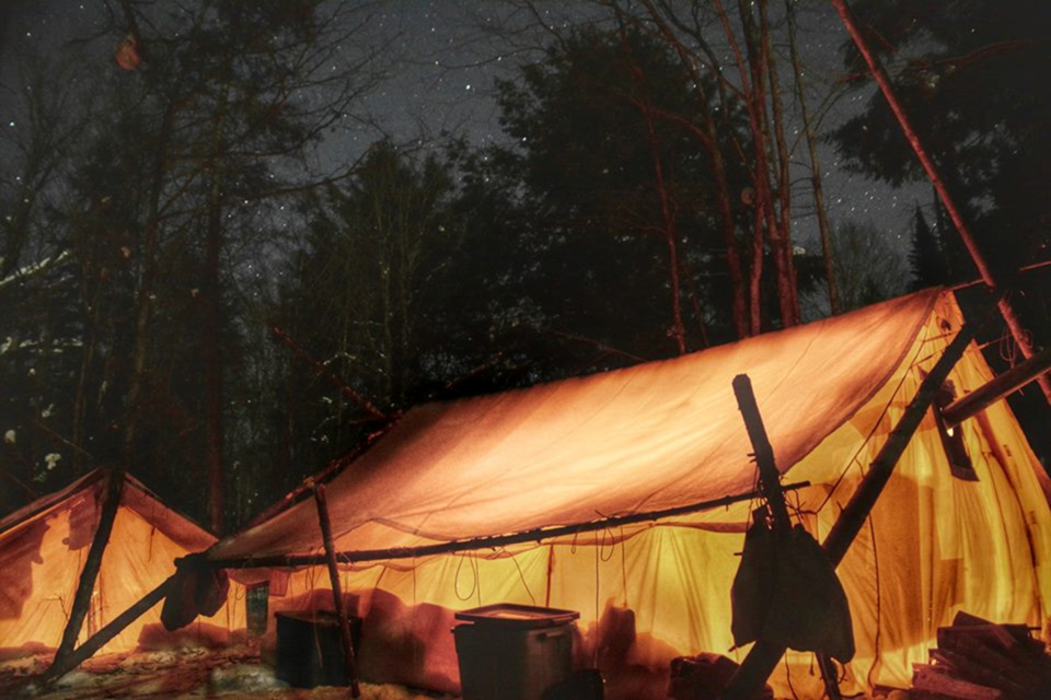 The glow of our winter tents under the Algonquin stars. Photo provided.