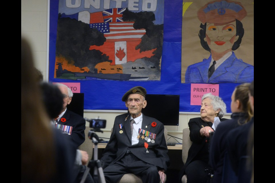 World War II veteran Frank Taylor, 97, was one of seven veterans who spoke to students at Lourdes high school on Thursday, Nov. 9, 2017. Tony Saxon/GuelphToday
