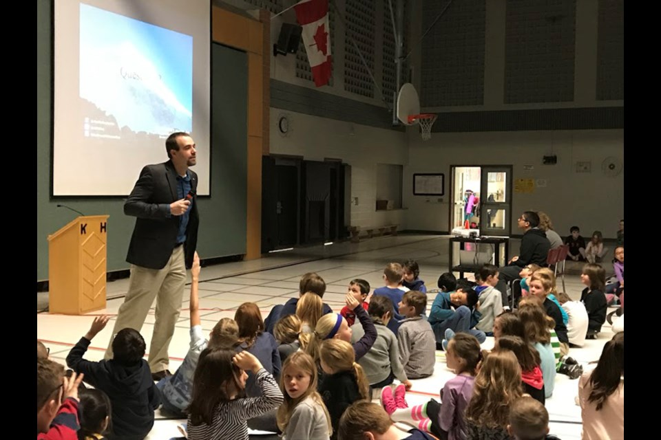 Alan Mallory speaks to Kortright Hills Public School students at an assembly Wednesday, Feb. 15, 2017. Barb McKechnie for GuelphToday