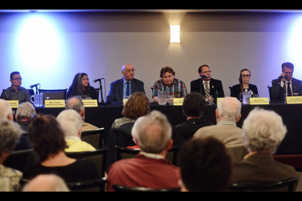Seven of the eight local candidates for the upcoming provincial election were at an all-candidates forum Thursday at the Italian Canadian Club. Tony Saxon/GuelphToday