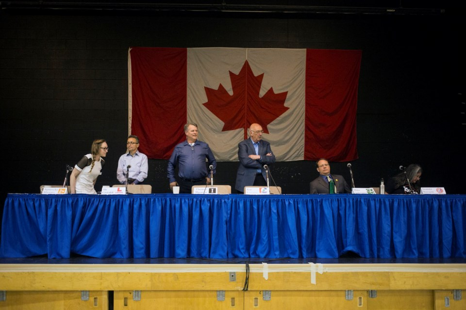 Six local candidates participated in a Candidates Debate Wednesday at Our Lady of Lourdes Catholic High School. Kenneth Armstrong/GuelphToday