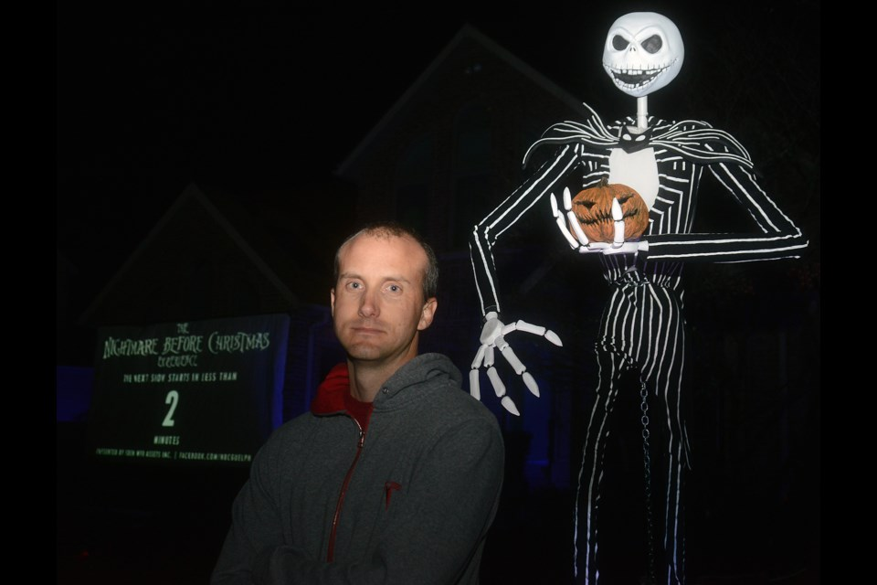 Shawn Gusz stands outside his home at 20 Fox Run Dr. in Puslinch that he has created a Nightmare Before Christmas Experience for Halloween. Tony Saxon/GuelphToday