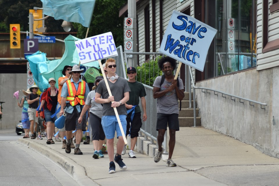 Walk for Water! heads down Gordon Street, bound for the Nestlé Waters Canada bottling plant in Aberfoyle, 12.5 kilometres south of Guelph.