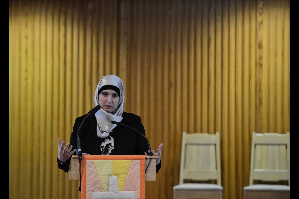 Monia Mazigh speaks on the Syrian crisis Saturday, April 14, 2018, at Harcourt United Church. Tony Saxon/GuelphToday