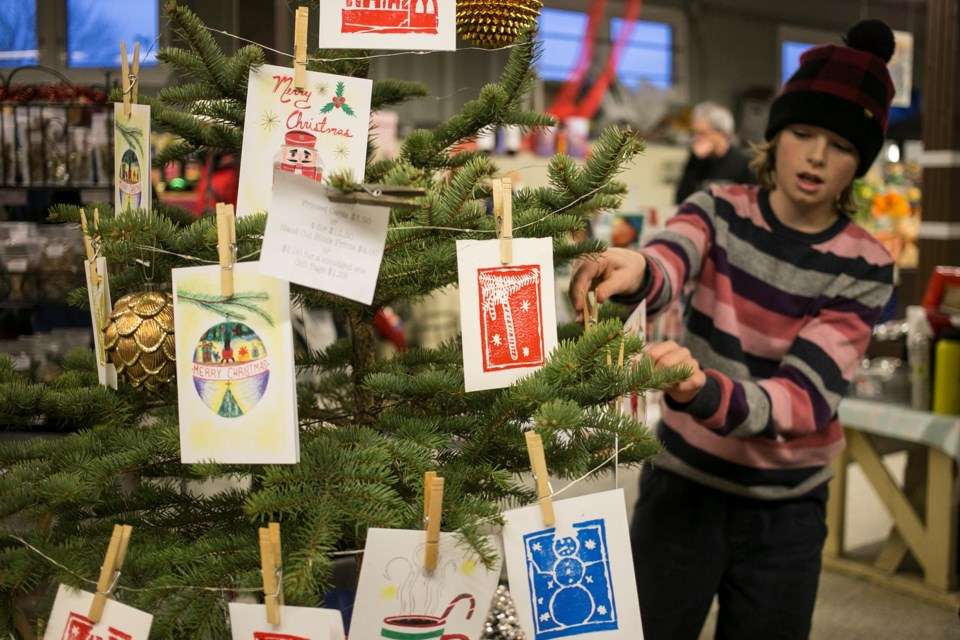 Hand-made cards for sale during the Merry Maker Market, held Wednesday at the Guelph Farmers' Market. Kenneth Armstrong/GuelphToday