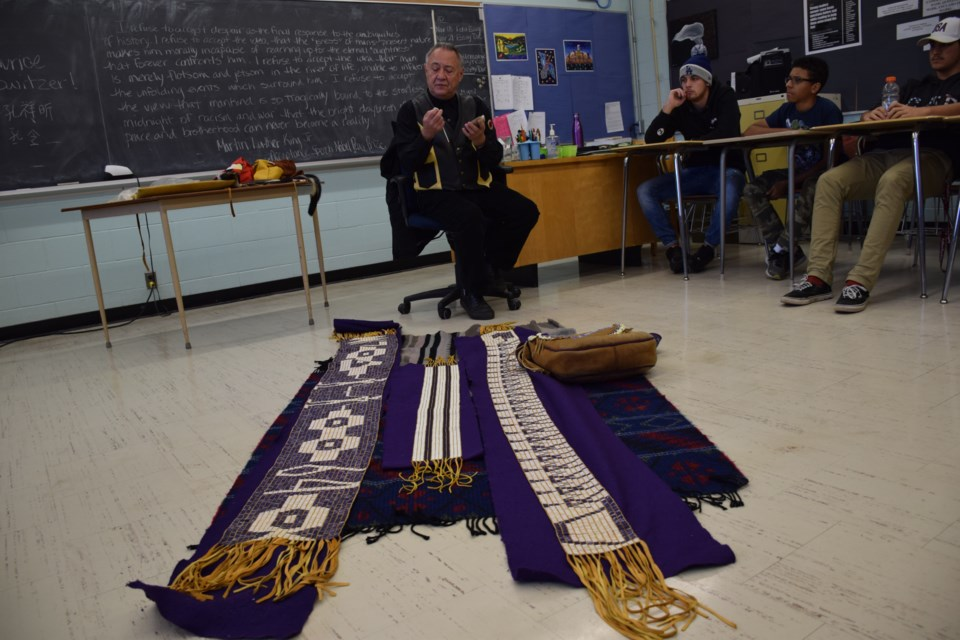 Ontario Human Rights Commissioner Maurice Switzer, a member of Alderville First Nation, brought his knowledge of treaty history, and a few wampum belts to a Guelph classroom on Wednesday. Rob O'Flanagan/GuelphToday