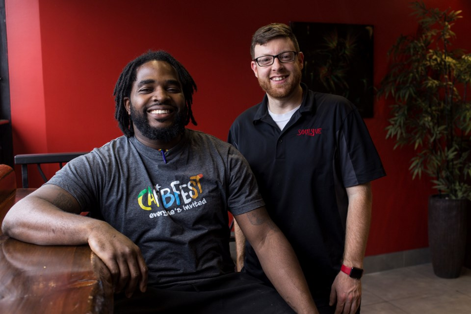 Lyve Caribbean Kitchen owner Philip DeWar and general manager Tyler Conium seen at the Macdonell St. grab-and-go restaurant. Kenneth Armstrong/GuelphToday