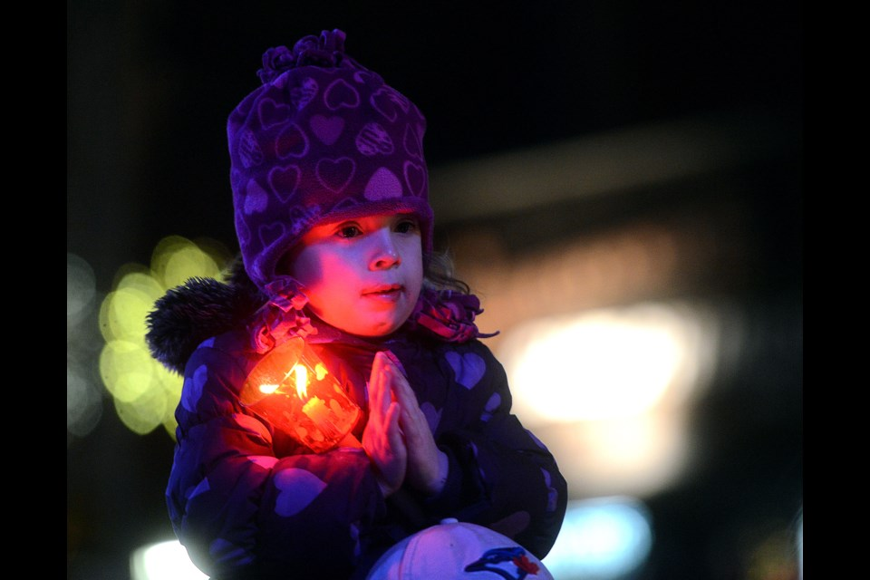 A child claps during the Christmas tree lighting event Saturday, Dec. 2, 2017. Tony Saxon/GuelphToday