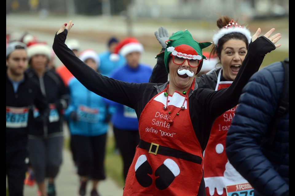 Roughly 140 runners took part in the annual Salvation Army Santa Run Saturday, Dec. 2, 2017, in the Kortright Road area. Funds raised go to help the numerous community programs the Salvation Army provides. Tony Saxon/GuelphToday
