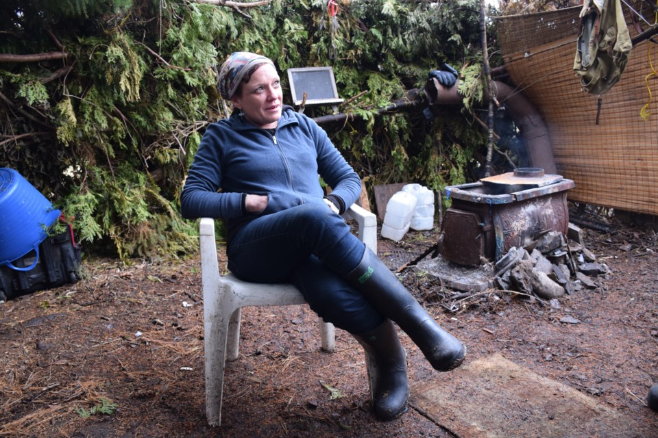 Joanna Couture lives in a tent village along the Eramosa River. She said squatters aren't sure why they've been asked to leave. Rob O'Flanagan/GuelphToday
