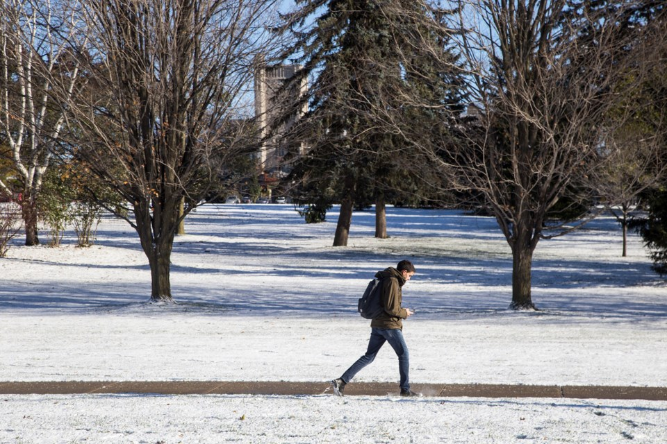 The results of the first significant snowfall  of the season seen Friday morning in Guelph. Kenneth Armstrong/GuelphToday