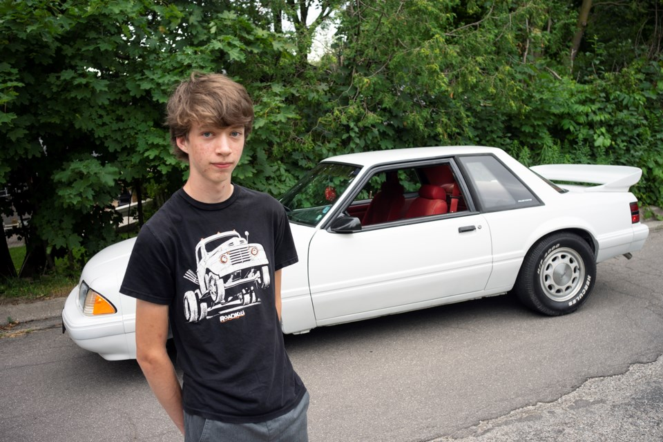 16-year-old Andrew Barker and his newly-restored 1990 Ford Mustang. Kenneth Armstrong/GuelphToday