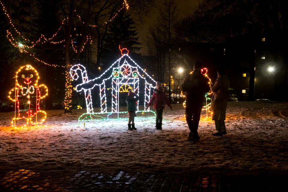 A family enjoys the Rotary Club of Guelph's Sparkles in the Park at Riverside Park on Monday. Kenneth Armstrong/GuelphToday