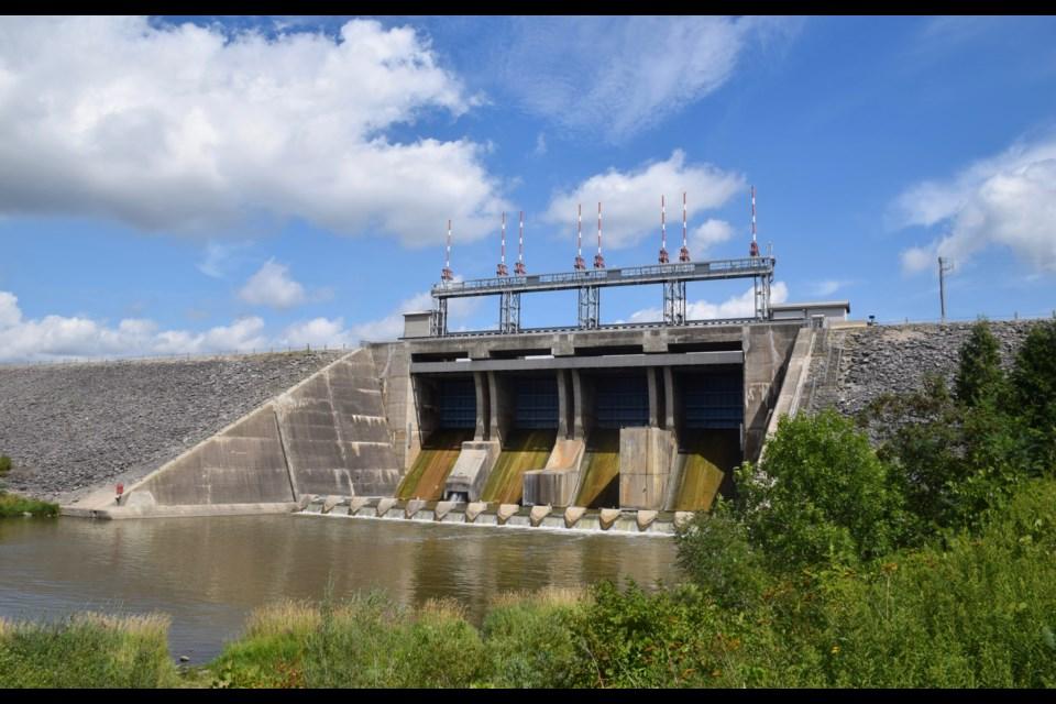 The Belwood Lake dam. (Rob O'Flanagan/GuelphToday)