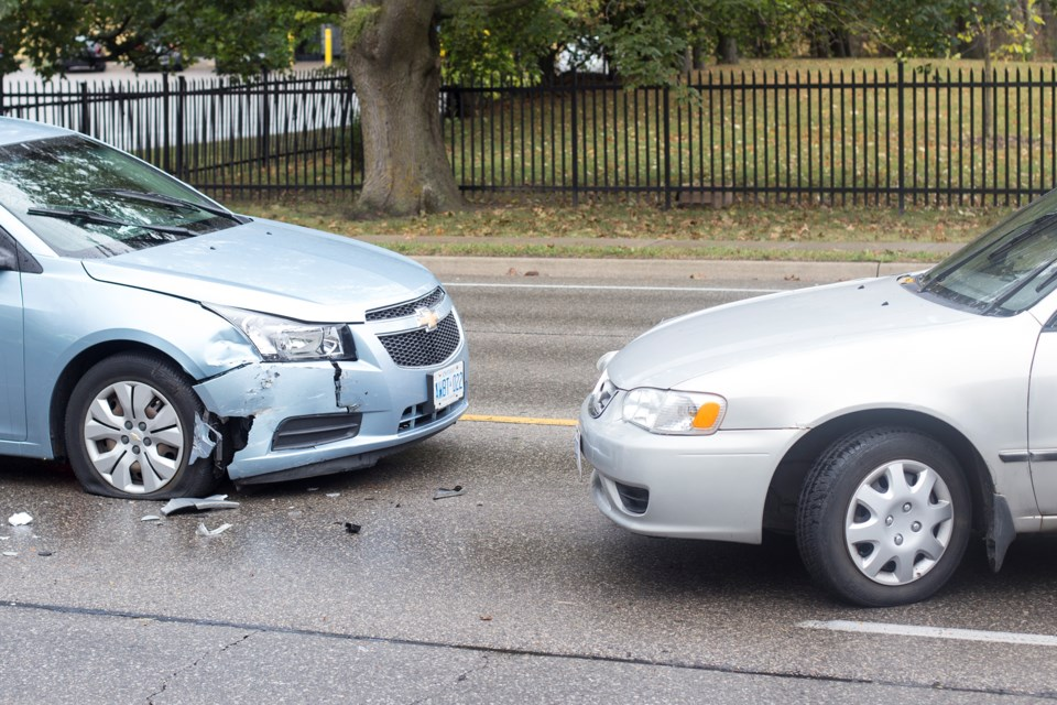 Two vehicles hit head on in a Wednesday afternoon collision on Woolwich St. at Marilyn Dr. Kenneth Armstorng/GuelphToday