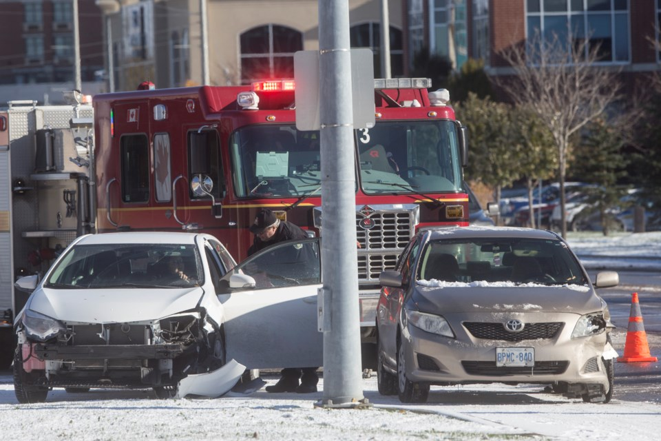 Emergency services attend the scene of a motor vehicle collision Friday morning on Stone Road at Research Lane. Kenneth Armstrong/GuelphToday