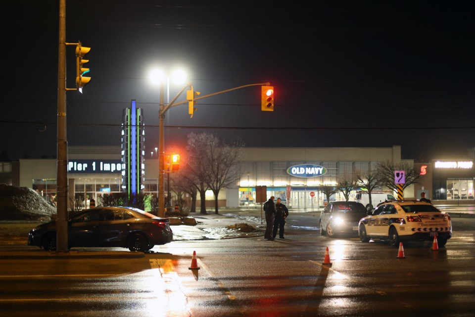 Guelph Police Service closed Stone Road West to investigate the scene of a collision Thursday evening near Stone Road Mall. Kenneth Armstrong/GuelphToday