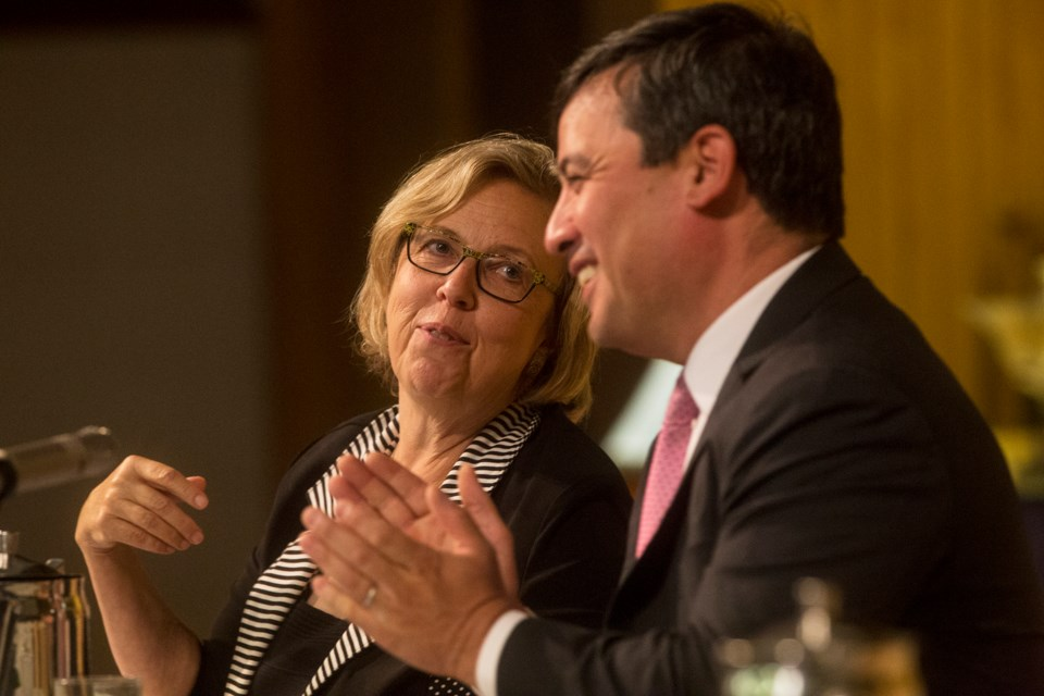 MPs Elizabeth May and Michael Chong seen during the Turning Parliament Inside Out: Practical Ideas for Reforming Canada's Democracy event Tuesday at Harcourt united Church in Guelph. Kenneth Armstrong/GuelphToday