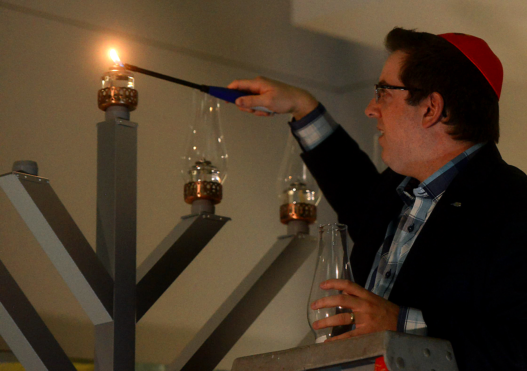 Mayor Cam Guthrie Lights The Menorah During The Jewish Chanukah Celebration  At Guelph City Hall Tuesday