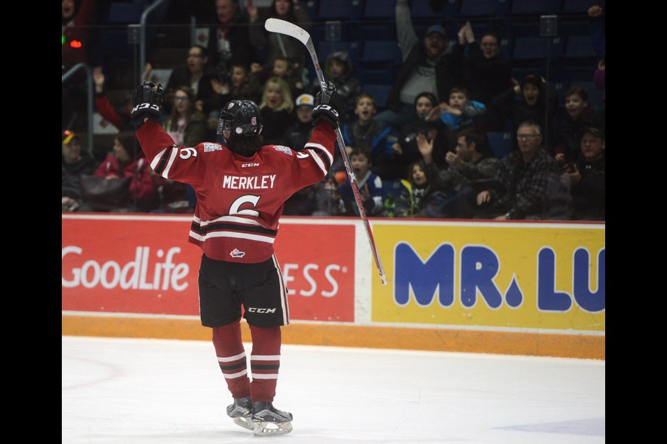 1b03d3739 Ryan Merkley celebrates his power play goal against the Kitchener Rangers  Tuesday