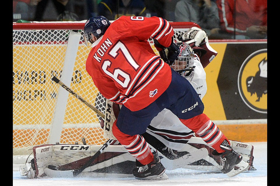Anthony Popovich  makes a breakaway save on Ladislav Kohn of the Oshawa Generals Friday, Sept. 29, 2017. Tony Saxon/GuelphToday