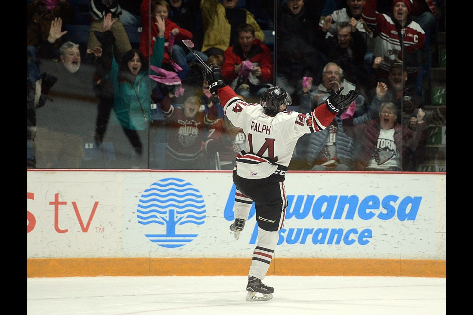 Cedric Ralph celebrates his winning overtime goal at the Sleeman Centre Friday, Nov 24, 2017. Tony Saxon/GuelphToday