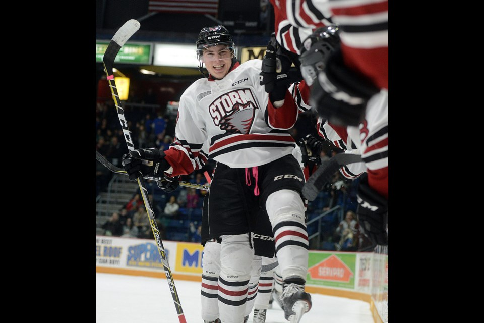 Guelph Storm rookie Tag Bertuzzi celebrates his first OHL goal Friday, Dec. 1, 2017, against the Erie Otters. Tony Saxon/GuelphToday
