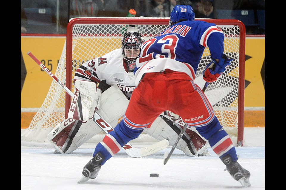 Adam Mascherin of the Kitchener Rangers breaks in all alone on Nico Daws of the Guelph Storm Sunday, Dec. 10, 2017. Tony Saxon/GuelphToday