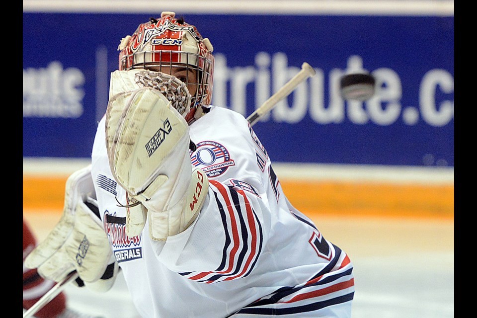 Oshawa Generals goaltender Kyle Keyser watches a Guelph Storm player's shot go by Sunday, Dec. 17, 2017, at the Tribute Communities Centre in Oshawa. Tony Saxon/GuelphToday