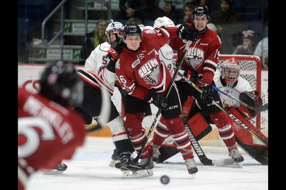 A group of players await the arrival of Ryan Merkley's point shot Friday, Jan. 5, 2018, at the Sleeman Centre. Tony Saxon/GuelphToday