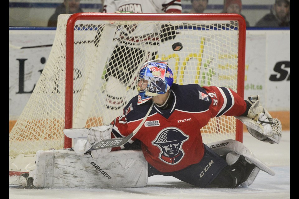 A shot rings off the post behind Kitchener Rangers goaltender Mario Culina Sunday, Jan. 21, 2018, at The Aud. Tony Saxon/GuelphToday
