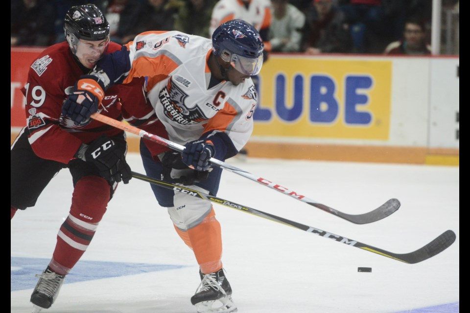 The Guelph Storm's Isaac Ratcliffe battles for the puck with Flint Firebirds defenceman Jalen Smereck Friday at the Sleeman Centre.