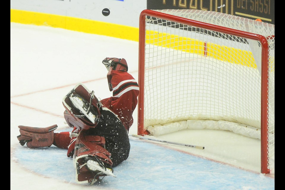 Guelph Storm goaltender Anthony Popovich makes a diving save against the Mississauga Steelheads Wednesday in Mississauga. Tony Saxon/GuelphToday