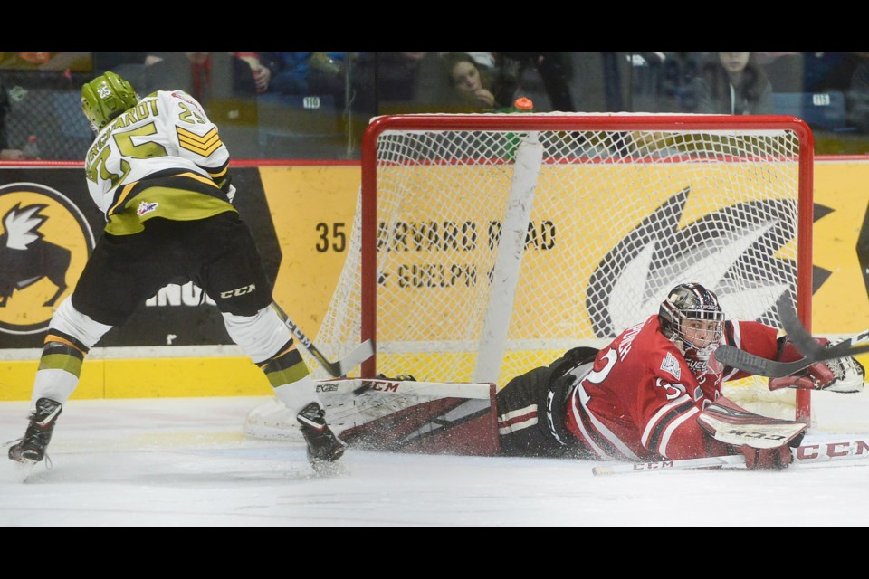 Guelph Storm goaltender Anthony Popovich makes a save on North Bay's Luke Burghardt Sunday at the Sleeman Centre. Tony Saxon/GuelphToday
