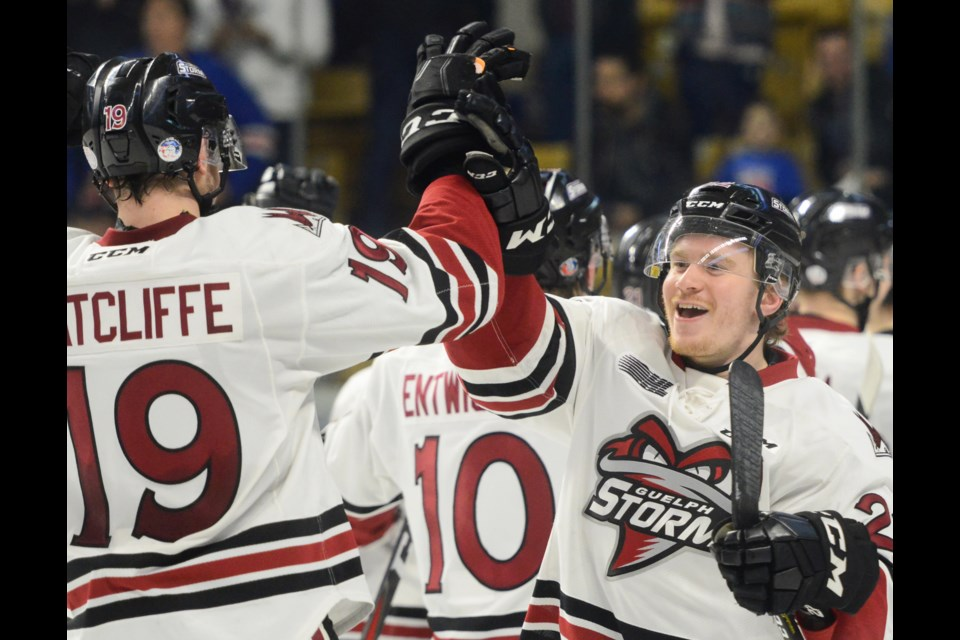 Jack Hanley celebrates after the buzzer Thursday at The Aud as the Guelph Storm swept the Kitchener Rangers in the first round of the playoffs. Tony Saxon/GuelphToday