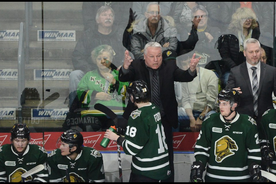 London Knights coach Dale Hunter states his case to the referee Friday night at Budweiser Gardens. Tony Saxon/GuelphToday