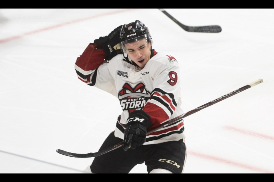 Nick Suzuki of the Guelph Storm celebrates what turned out to be the game-winning goal Friday in London. Tony Saxon/GuelphToday
