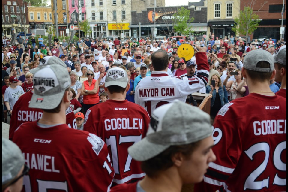 Mayor Cam Guthrie addresses the roughly 450 people who showed up to the Guelph Storm rally at Market Square on Monday. Tony Saxon/GuelphToday