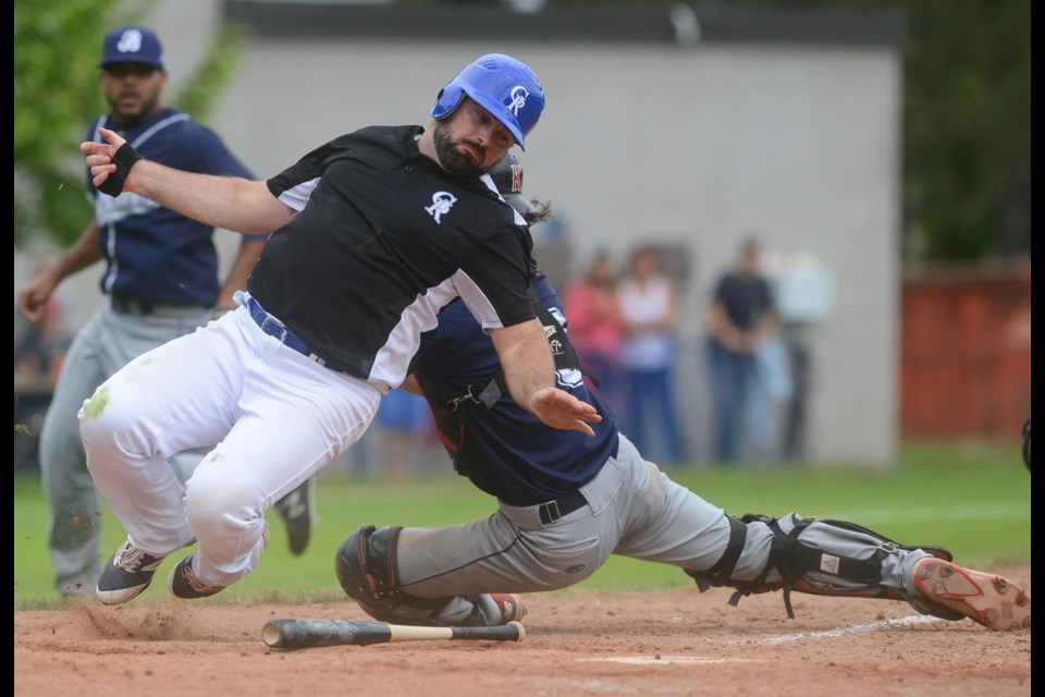 Jeff MacLeod scores the winning run against the Barrie Baycats Saturday, June 9, 2018, at Hastings Stadium. Tony Saxon/GuelphToday