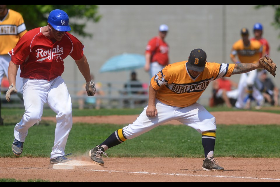 Guelph Royals baserunner Sean Reilly is out on a close play at first base against the Burlington Herd Saturday at Hastings Stadium. Tony Saxon/GuelphToday