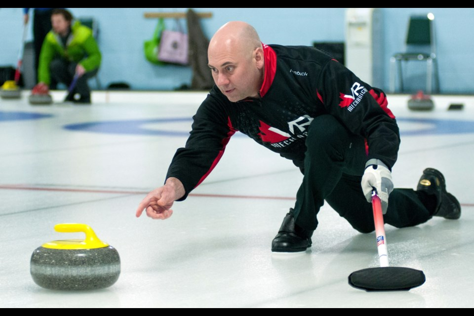 Adam Spencer of Guelph throws a rock during men's league play this week at the Guelph Curling Club. Spencer will be a member of Glen Howard's Ontario championship-winning team in the Tim Hortons Brier at Ottawa's TD Place March 5-13. Rob Massey for GuelphToday
