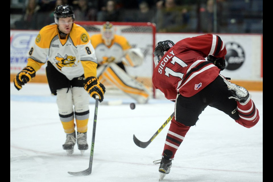 Guelph Storm forward Nic Sicoly fires a shot towards the Sarnia Sting net Friday, Feb. 12, 2016, at the Sleeman Centre. Tony Saxon/GuelphToday