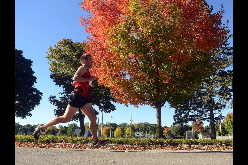 Matt Stanley competes in the 10k event at Monday's Thanksgiving Day Road Race at Exhibition Park. Tony Saxon/GuelphToday