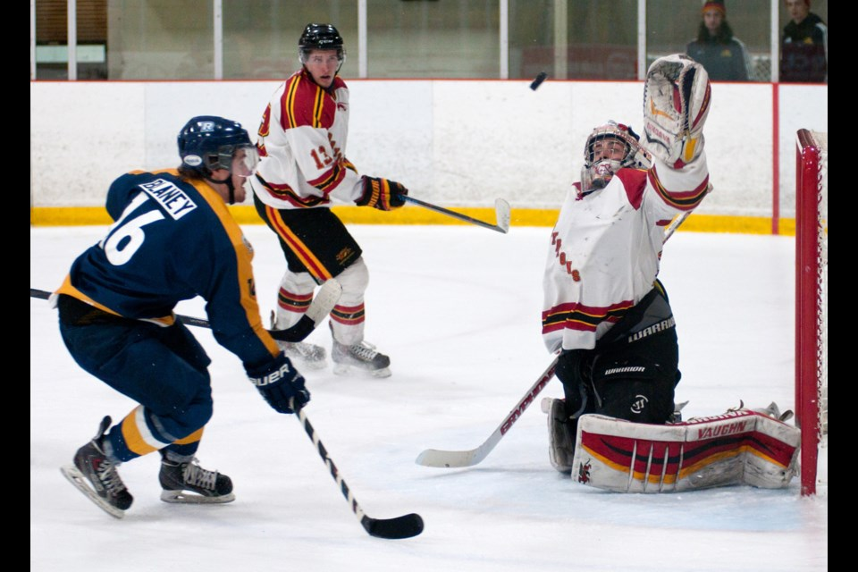 Goaltender Andrew D'Agostini of the Guelph Gryphons reaches up to grab a shot by Kyle Blaney (16) of the Ryerson Rams during OUA men's hockey playoff action Thursday night at the Gryphon Centre. The Gryphs won the series opener 5-3. Rob Massey for GuelphToday