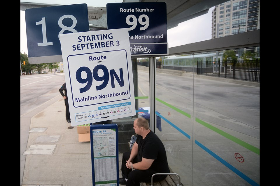 A passenger waits for the new 99 Mainline bus at Central Station Sunday, Sept. 3, 2017. Tony Saxon/Guelphtoday