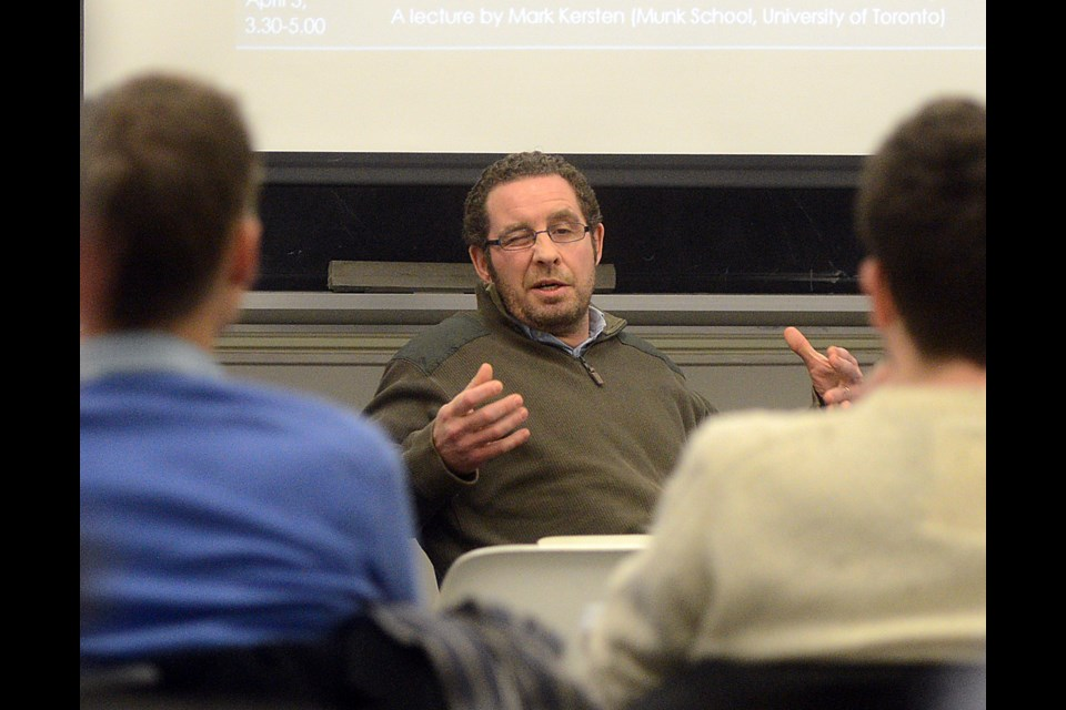 Univesity of Guelph professor Andrew Hathaway speaks at a panel discussion on marijuana at the school Thursday, Jan. 19, 2017. Tony Saxon/GuelphToday
