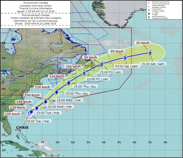 Forecast track of Tropical Storm Chris as of Tuesday moring. Via
