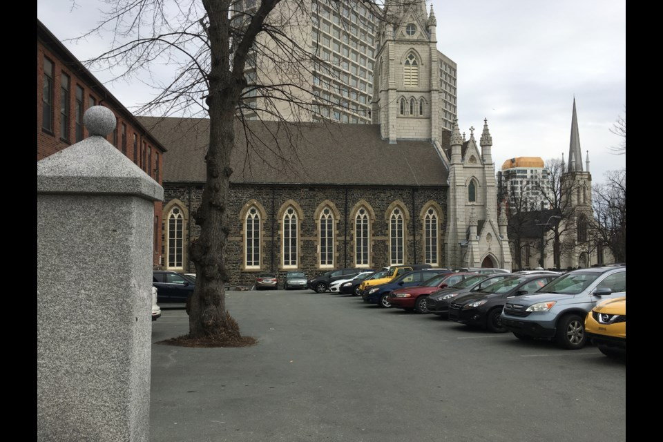 Currently, there is no on-site commemoration or interpretation of the burial ground underneath the Saint Mary's Basilica parking lot. (Photo credit: David Jones)