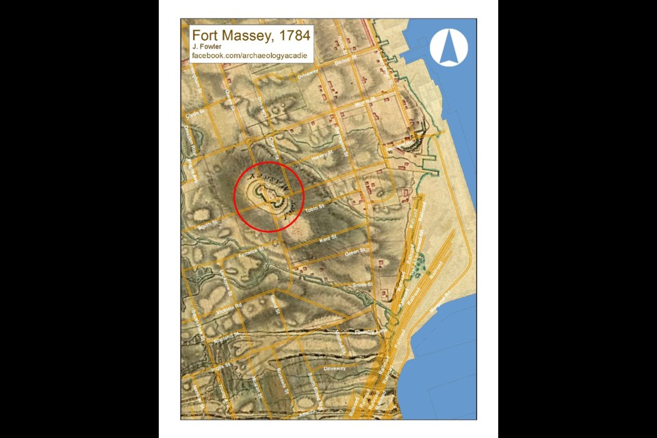 1784 Charles Blaskowitz plan of Halifax  overlayed on modern street grid. Fort Massey situated at intersection of today's Queen Street and South Street. (Used with permission of Dr. Jonathan Fowler)