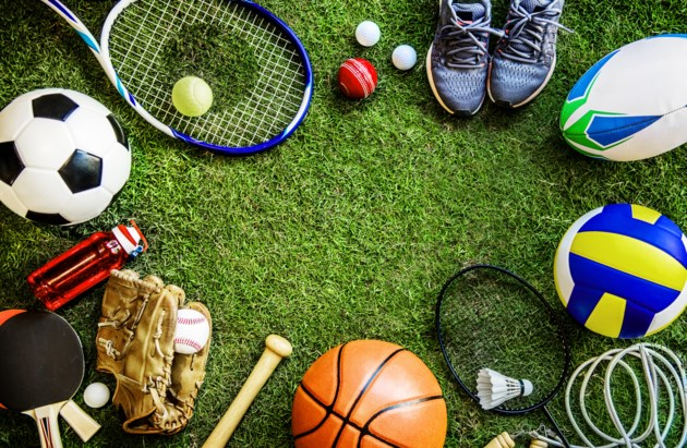 This image shows a wide range of items that are commonly associated with certain sports. For example, a soccer ball or foot ball is shown in the image.
